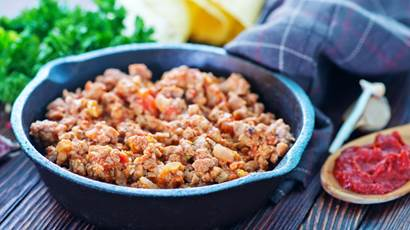 ground meat in a skillet
