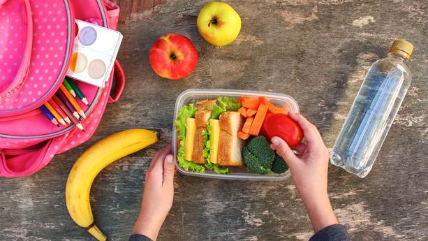 Sandwiches, fruits and vegetables in a plastic tupperware with a backpack and water bottle beside it on a wooden background.