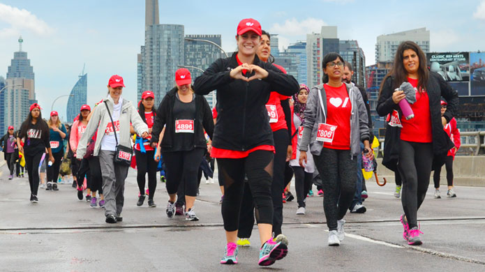 Ride for Heart walkers on the Gardiner