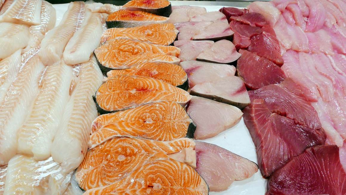 Fresh salmon fillets on a table