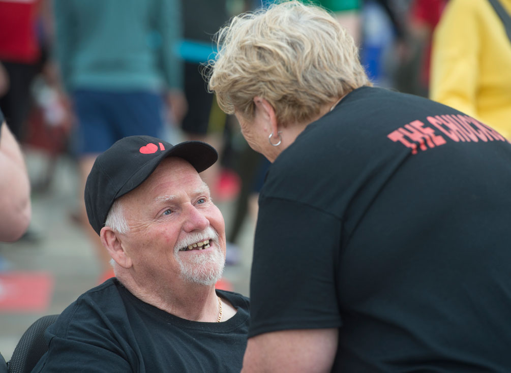 Chuck smiling up at Lorraine at Ride for Heart.