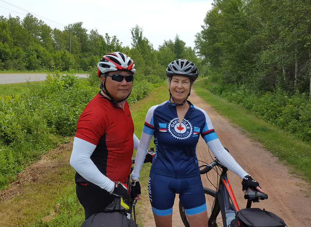 Donna and Barry cycling in Prince Edward Island